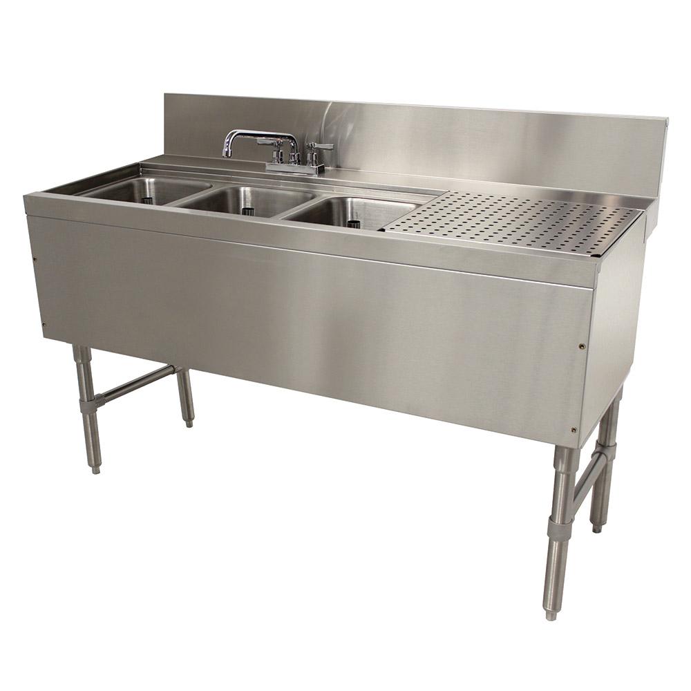 """Advance Tabco PRB-24-53L 60"""" 3-Compartment Sink w/ 10""""L x 14""""W Bowl, 10"""" Deep"""