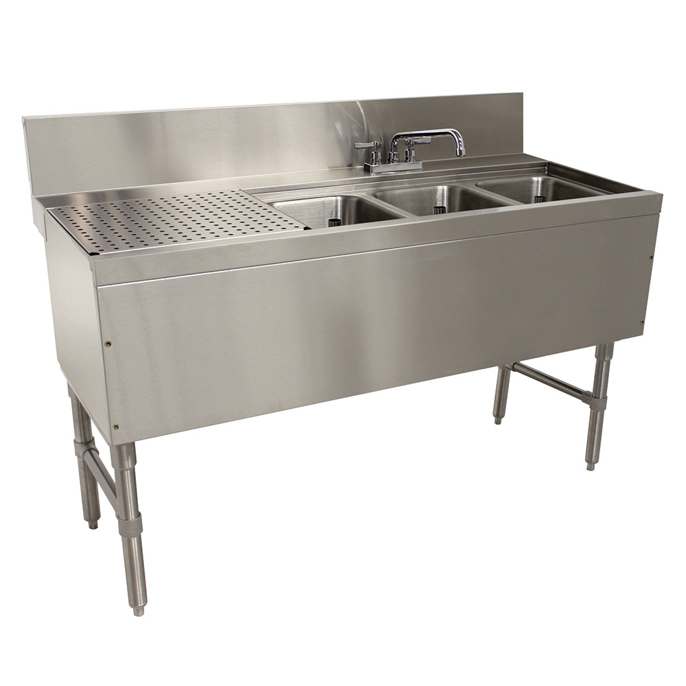 "Advance Tabco PRB-24-53R 60"" 3-Compartment Sink w/ 10""L x 14""W Bowl, 10"" Deep"