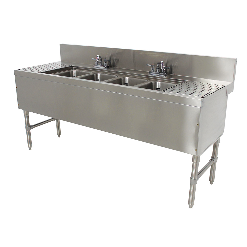 "Advance Tabco PRB-24-74C 84"" 4-Compartment Sink w/ 10""L x 14""W Bowl, 10"" Deep"