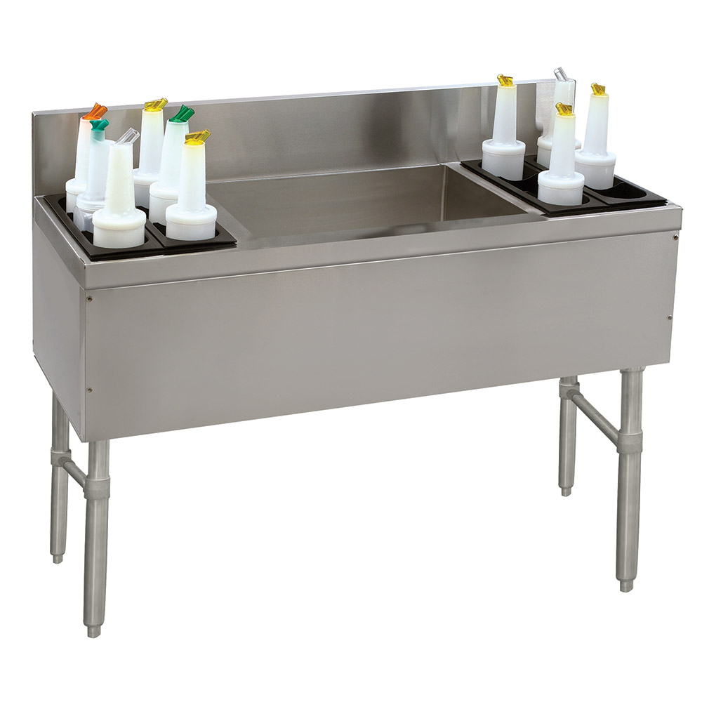 "Advance Tabco PRC-19-54LR 54"" Ice Chest w/ Left & Right Bottle Rack, No Coldplate, 19"" Front To Back"