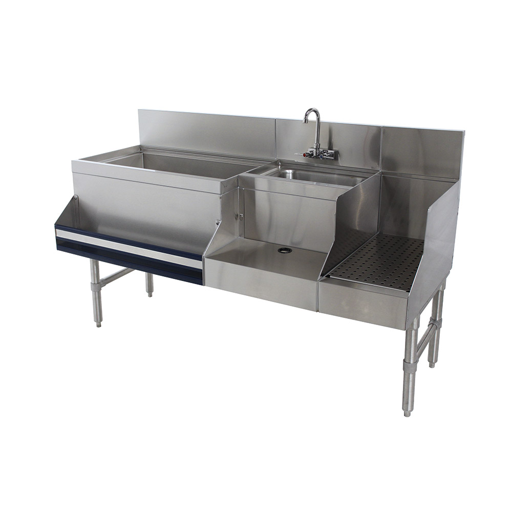 "Advance Tabco PRU-19-60L Uni-Serv Speed Bar w/ 11"" Left Ice Bin, Splash Mount Faucet, No Coldplate"
