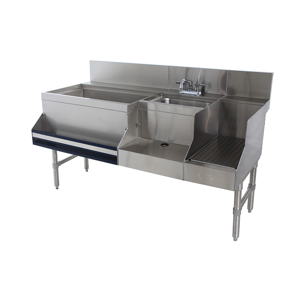 "Advance Tabco PRU-24-60L-10 Uni-Serv Speed Bar w/ 11"" Left Ice Bin, Deck Mount Faucet, Coldplate"