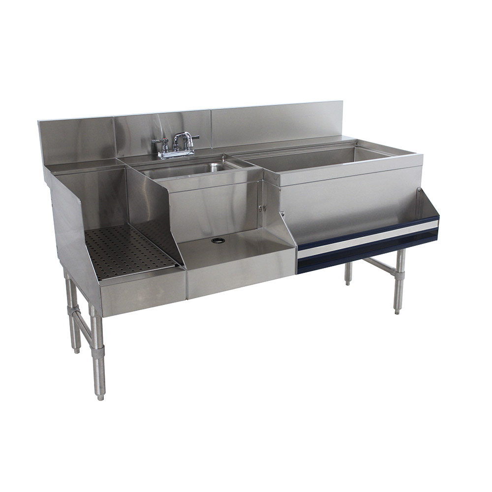 "Advance Tabco PRU-24-60R-10 Uni-Serv Speed Bar w/ 11"" Right Ice Bin, Deck Mount Faucet, Coldplate"