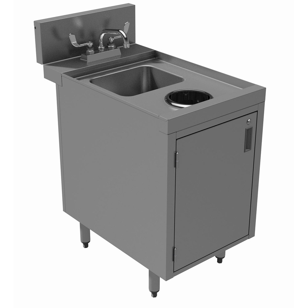 "Advance Tabco PRWC-24-18-DR 18"" Wet Dry Waste Cabinet w/ Hinged Doors, Deck Mount Faucet"