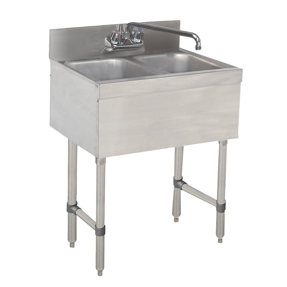 """Advance Tabco SLB-22C-X 24"""" 2-Compartment Sink w/ 10""""L x 14""""W Bowl, 10"""" Deep"""