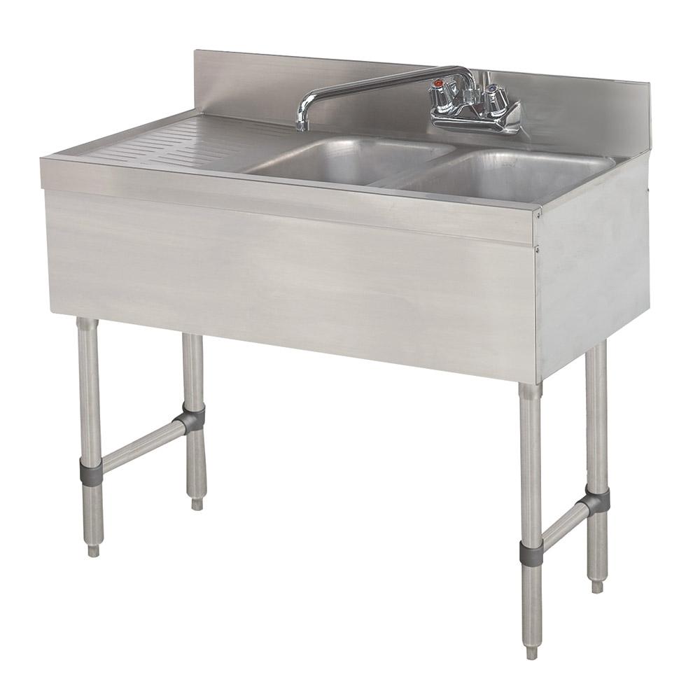 """Advance Tabco SLB-42L 48"""" 2-Compartment Sink w/ 10""""L x 14""""W Bowl, 10"""" Deep"""