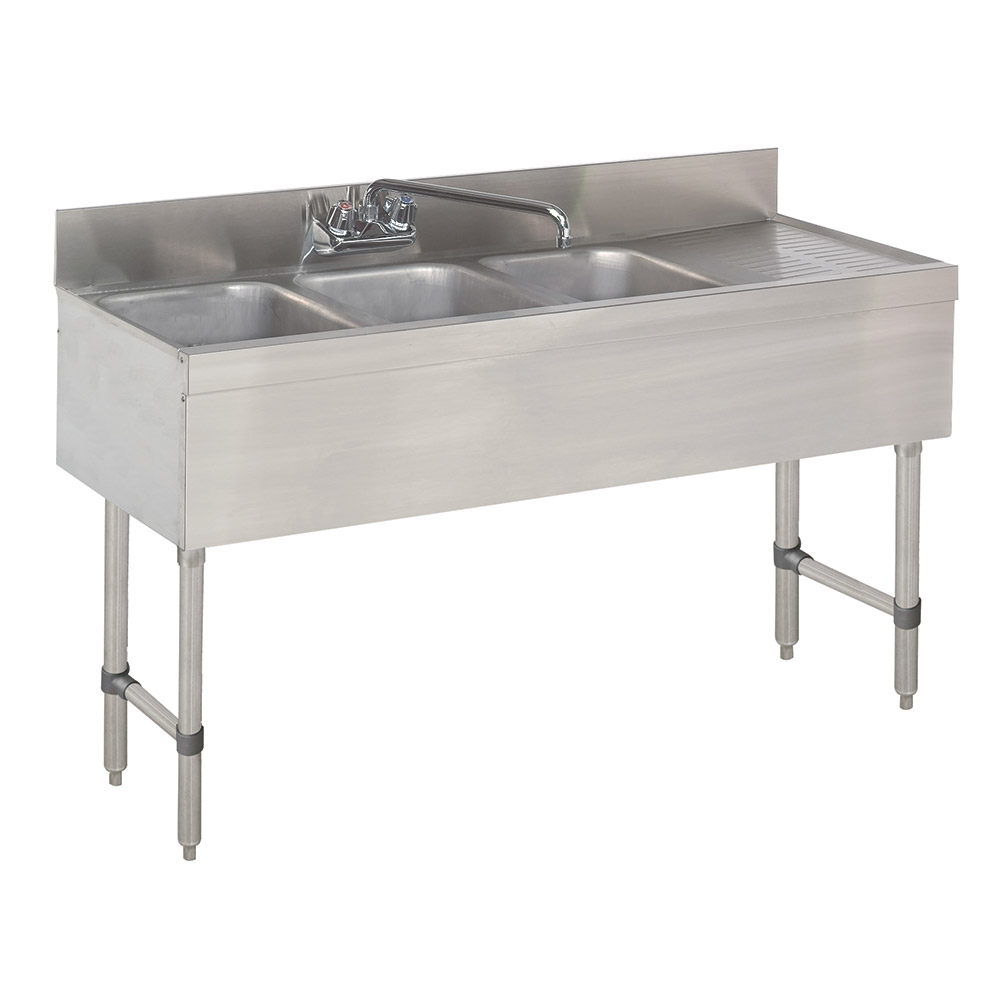 "Advance Tabco SLB-43R-X 48"" 3-Compartment Sink w/ 10""L x 14""W Bowl, 10"" Deep"