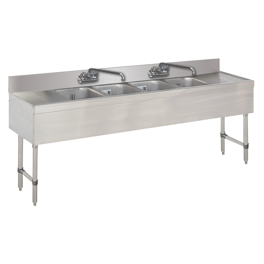 "Advance Tabco SLB-64C-X 72"" 4-Compartment Sink w/ 10""L x 14""W Bowl, 10"" Deep"