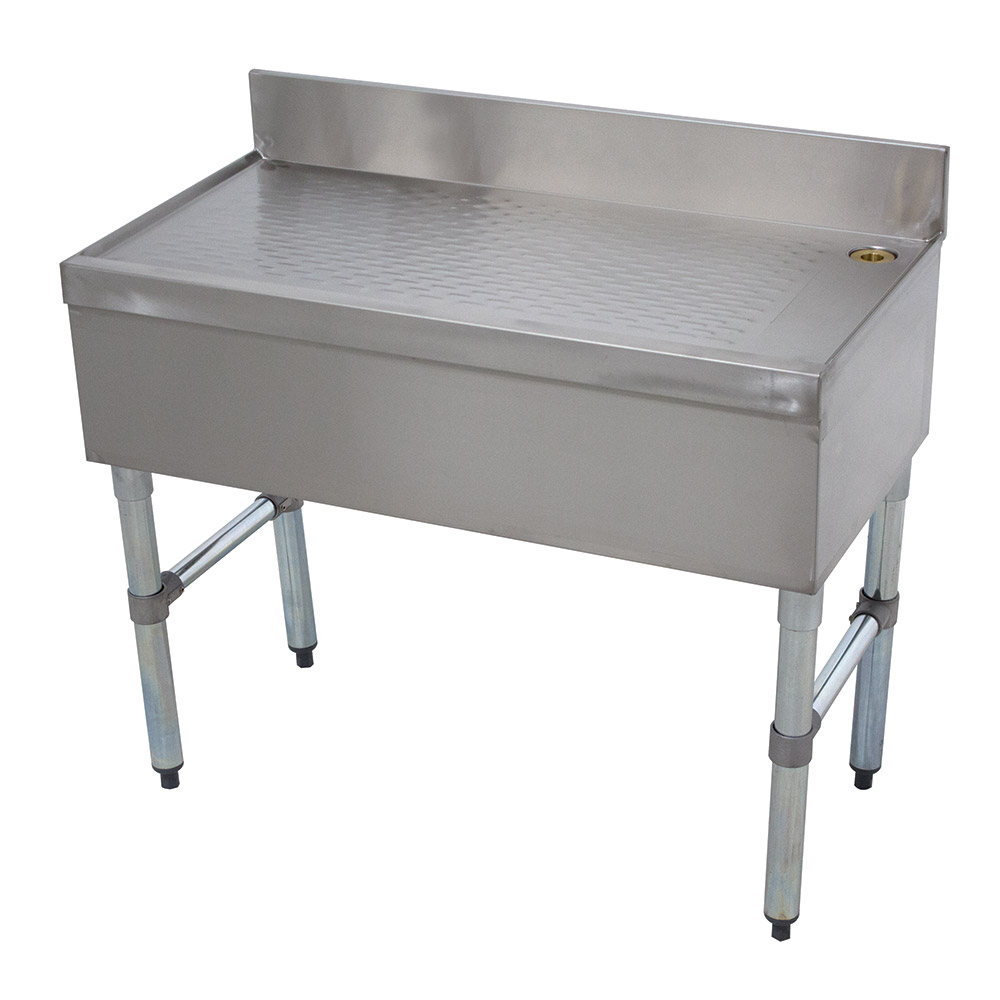"Advance Tabco SLD-18-X 18"" Free Standing Island Type Drainboard w/ 4"" Splash, Stainless"