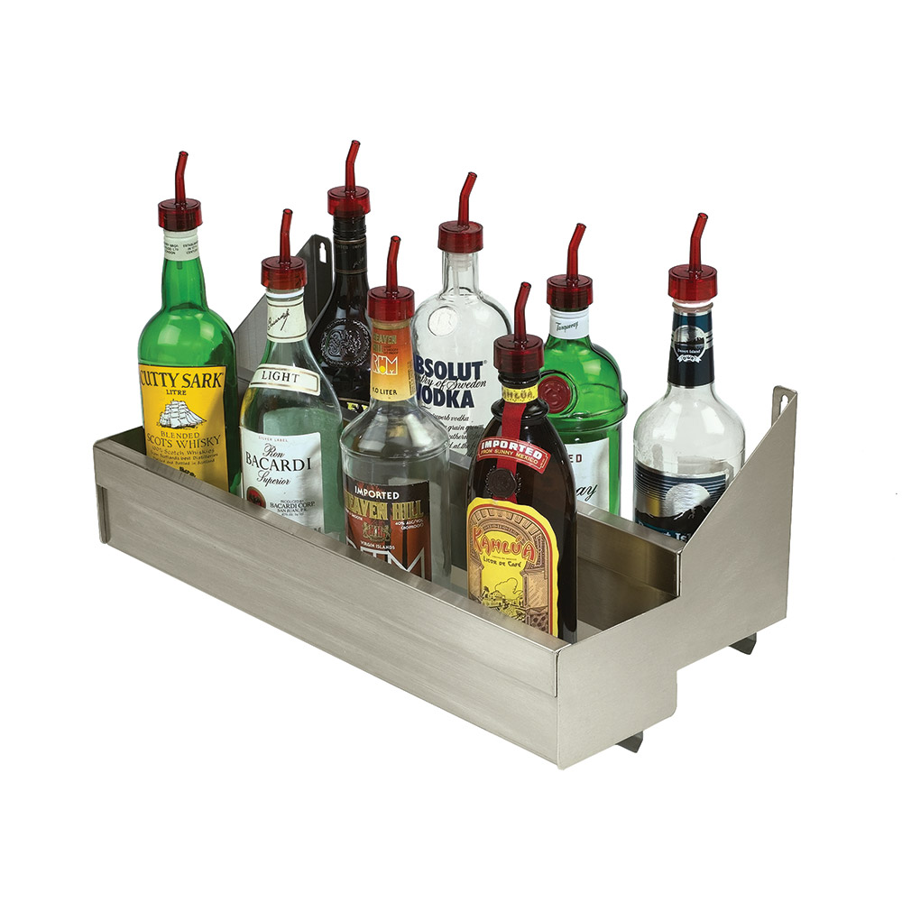 """Advance Tabco SRKD-18 18"""" Double Tier Bottle Rack w/ Keyhole, Stainless"""