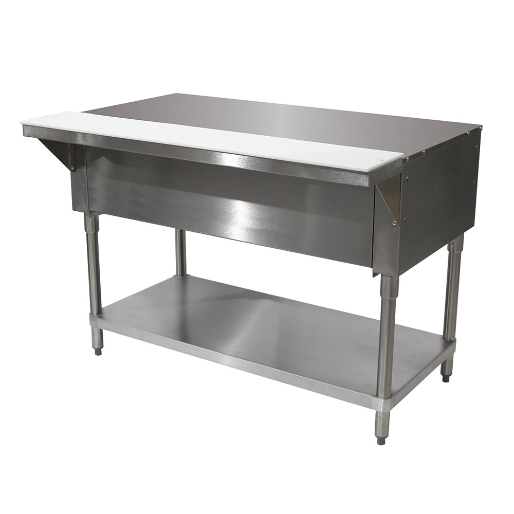 "Advance Tabco STU-4 Solid Top Table, Open Base w/ Undershelf, 62-3/8"", Stainless"