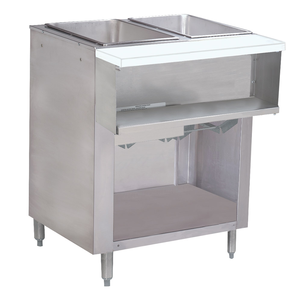 "Advance Tabco WB-2G-LP-BS Water Bath Hot Food Table, 31-13/16"", Cabinet Base w/ Open Undershelf, LP"