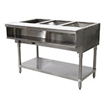 "Advance Tabco WB-3G-NAT-X Water Bath Hot Food Table, 47-1/8"", Open Base w/ Undershelf, NG"