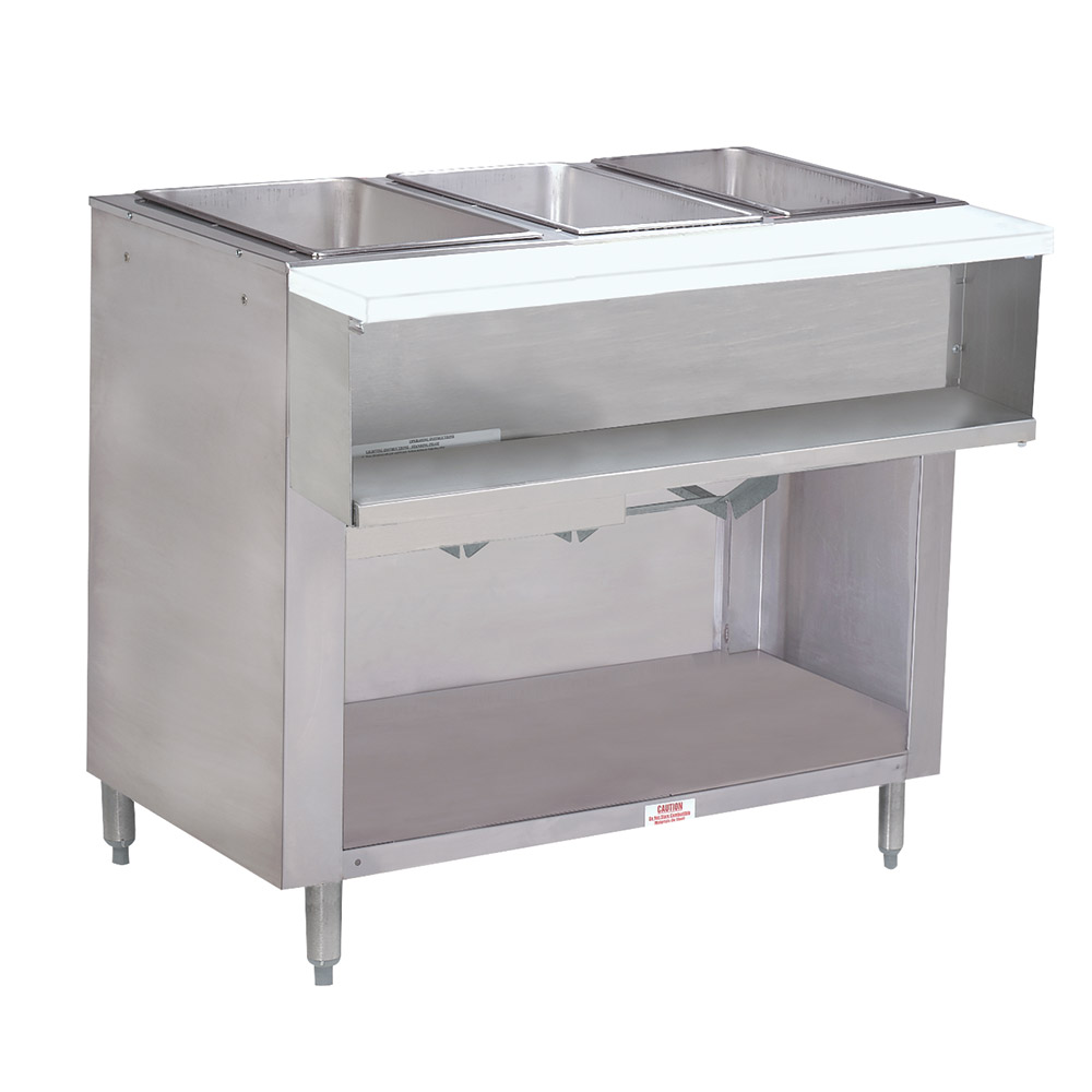 "Advance Tabco WB-3G-NAT-BS Water Bath Hot Food Table, 47-1/8"", Cabinet Base w/ Open Undershelf, NG"
