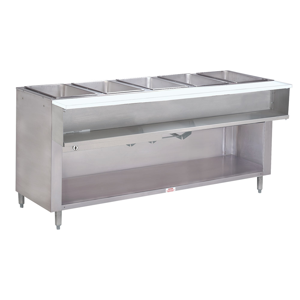 "Advance Tabco WB-5G-NAT-BS Water Bath Hot Food Table, 77-9/12"", Cabinet Base w/ Open Undershelf, NG"