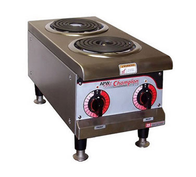 APW Wyott EHPI Countertop Hotplate - 2-Burners, Dual Infinite Control, Stainless, 208v