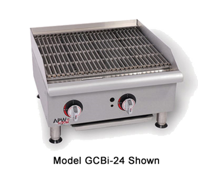 "APW GCRB-36I 36"" Countertop Char-Rock Charbroiler - Cast Iron Grate, LP"
