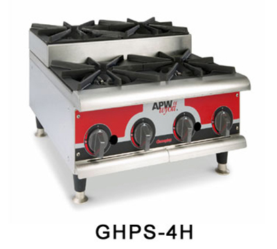 APW GHPS-2I 2-Burner Step-Up Hot Plate - Manual Control, Stainless, NG