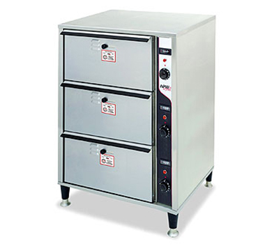 APW Wyott HDD-3 120 3 Warming Drawers 12 x 20 x 6.5 in Pan Thermostatic Stainless 120 V Restaurant Supply