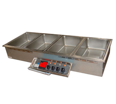 APW HFW-4D Drop-In Hot Food Well Unit w/ Drain & Manifold, 4-Pan Size, 208/240/1 V