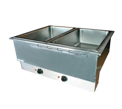 APW Wyott HFWAT-2 Drop-In Hot Food Well Unit, Wet or Dry, (2) 12 x 20 in Pans, 208 V