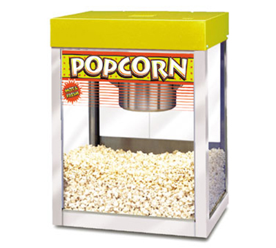APW Wyott PC-1A 8-10 oz Kettle Popcorn Popper, Stainless, Yellow Enamel Top, 120 V