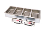 APW Wyott SHFWEZ-4D Drop-In Hot Food Well Unit, Wet w/Drain, 4 Pan Size, 208/1 V