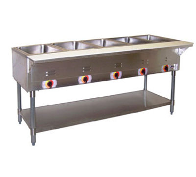 APW PSST-5S Portable Hot 5-Well Steam Table, Sealed Well, Stainless Legs