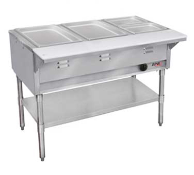 APW WGST-3S-LP 3-Well Steam Table w/ Wet Bath, Stainless Liner, Legs & Undershelf, LP