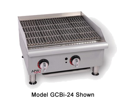 "APW GCB-18I 18"" Gas Radiant Charbroiler w/ Cast Iron Grates, 1 Burner, NG"