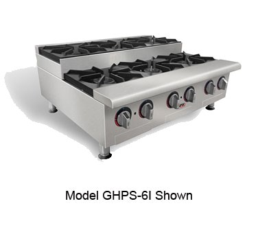 "APW GHPS-4I 24"" Gas Hotplate w/ 4 Step-Up Burners, Manual Controls, NG"