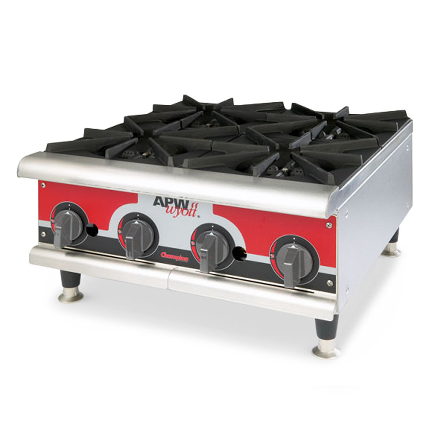 "APW GHPW-3I 24"" Gas Hotplate w/ 3 Burners, Manual Controls, LP"