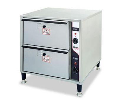 APW Wyott HDD-2 120 Warming Drawer Free Standing Two Drawer Holds 12 x 60 x 6.5 in Pan 120 V Restaurant Supply