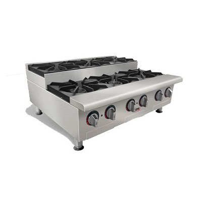 APW HHPS-636 6-Burner Step-Up Hot Plate w/ Thermostatic Controls, LP