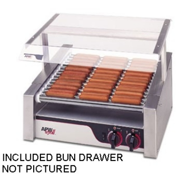 APW Wyott HR-31SBD 208 23-3/4 in HotRod Hot Dog Grill with Bun Drawer Slanted Chrome Rollers 208 V Restaurant Supply