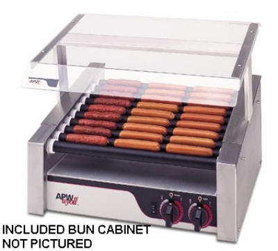 APW Wyott HRS-31BC 208 HotRod Hot Dog Roller Grill w/ Bun Cabinet 23-3/4 x 18-3/8 in Tru-Turn 208 V Restaurant Supply