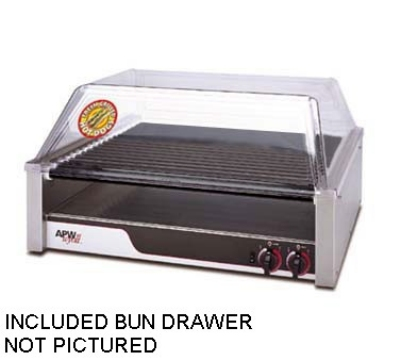 APW Wyott HRS-50BD 240 HotRod Hot Dog Roller Grill w/ Bun Drawer 34-3/4 x 18-5/8 in Stainless 240 V Restaurant Supply