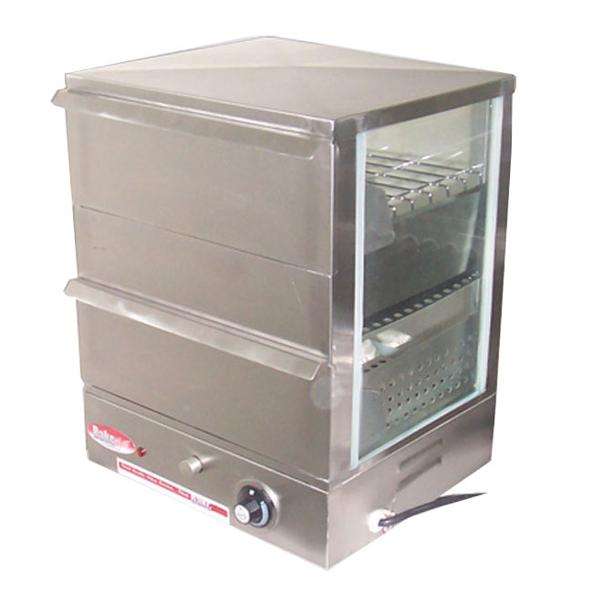 Bakemax BMBTW05 Hot Dog Steamer, Temperature Control, Flip Down Hinged Door, SS