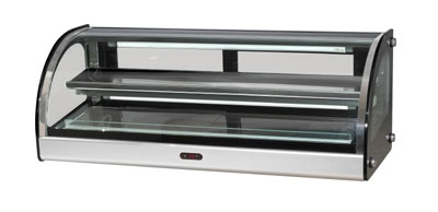"Bakemax BMCHD01 36"" Curved Heated Showcase w/ 2-Display Tiers & Rear Sliding Glass Doors"