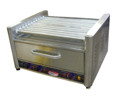 Bakemax BMHBW09 16 Hot Dog Roller Grill w/Bun Storage - Flat Top, 110v