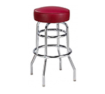 AAF MS2RBL Backless Swivel Barstool w/ Round Upholstered Seat & Double Ring, Black Vinyl