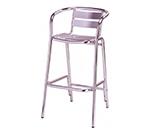 AAF OA110-BS Capri Patio Barstool w/ Metal Slat Back & Seat, Footrest, Aluminum