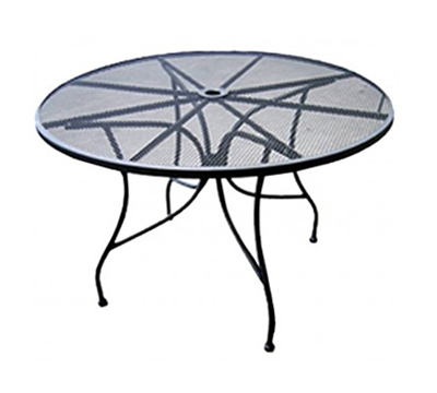 AAF OMT-30 30-in Round Patio Table w/ Umbrella Hole & Wrought Iron Frame, Black