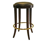 AAF WC105GR5 Backless Barstool w/ Upholstered Round Seat, German Beech Wood, Grade 5