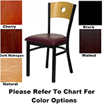 "AAF MC350ABL Side Chair - Circle Cutout Wood Back, 2"" Padded Seat, Steel Frame, Black"