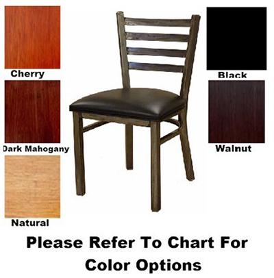 "Aaf MC403BL Side Chair - Metal Ladder Back, 2"" Padded Seat, Steel Frame, Black Vinyl"