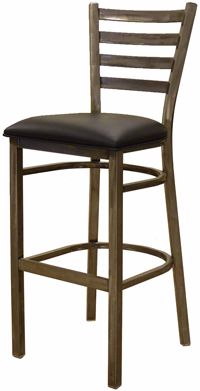 Aaf MC403-BSBL Upholstered Barstool w/ Metal Ladder Back & Padded Seat, Clear Coat,
