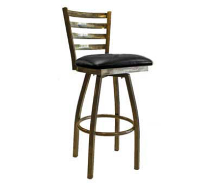 "Aaf MC403-BSSBL Swivel Barstool - Metal Ladder Back, 2"" Padded Seat, Heavy Duty, Steel Frame"