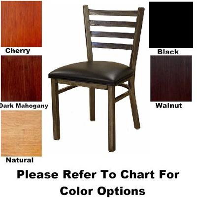 AAF MC403WS Metal Ladder Back Side Chair w/ Solid Wood Seat & Steel