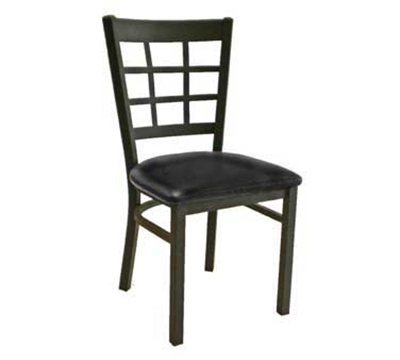 "AAF MC450BL Side Chair - 9-Grid Metal Window Back, 2"" Padded Seat, Steel Frame"